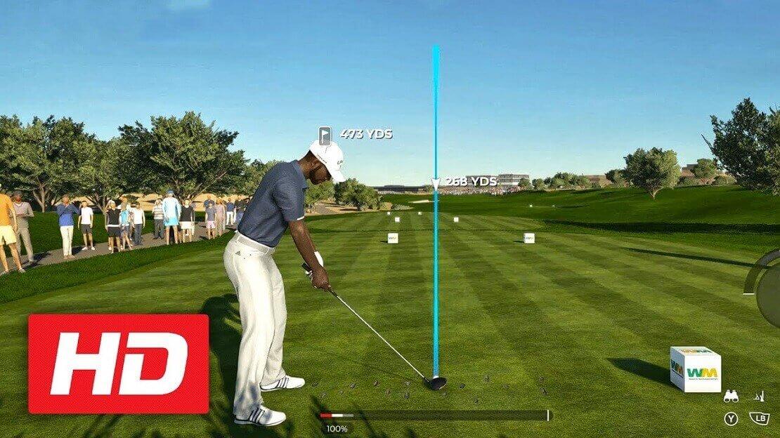 Virtueller Golfspieler beim Abschlag auf dem Grün mit eingezeichneter, zu spielender Flugbahn.