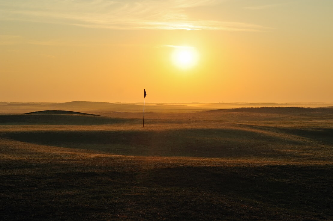 Royal St Georges Golf Course bei Sonnenuntergang